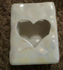 White Iridescent Ceramic Decorative Piece with Heart Cut Out about 3