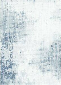 BELLE 56711 White Blue Luxurious Super Soft Polypropylene Rugs with OFFER