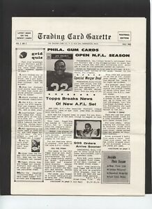 VINTAGE TRADING CARD GAZETTE FOR THE FALL OF 1966 FOOTBALL EDITION COOL PIECE $20.00