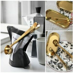 Coffee Spoon Stainless Steel Kitchen Scoop Bag Seal Clip Measuring Spoon Sealing