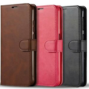 For Samsung Galaxy A01 CasePremium Leather Wallet PockTempered Glass Protector