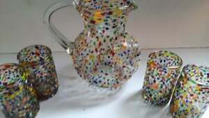 6 Piece Mexican Glassware Pebble rocks pitcher and 4 drinking glasses 32oz