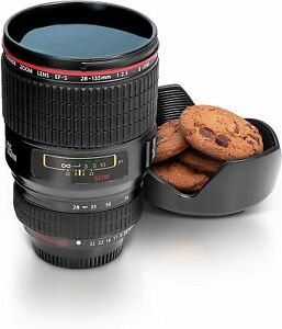 Realistic Camera Lens Shaped Thermal Coffee Cup (15oz Capacity)