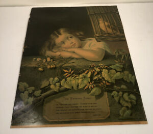 Antique Victorian 1880s Chromolithograph H.Hallett & Co The Evening Song $12.00