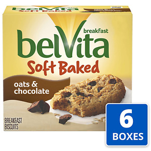 belVita Soft Baked Oats & Chocolate Breakfast Biscuits, 6 Boxes of 5 Packs 1 Per