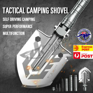 Outdoor Tactical Folding Shovel Camping Multi Tools Knife Axe Saw Military
