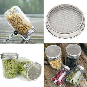 Lid Strainer Sprouting Cover for Wide Mouth Mason Canning Jar Stainless Steel US