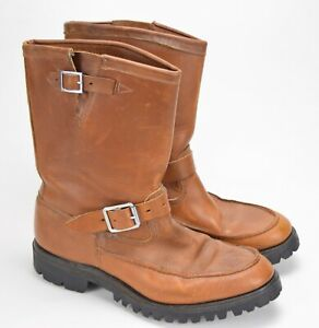 VINTAGE HUDSON BAY HERTERS BROWN LEATHER ENGINEER BOOTS MENS 9.5