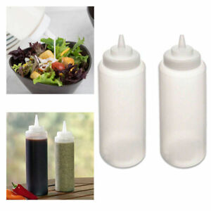 2 Pc Squeeze Bottles Ketchup Mustard BBQ Containers Dispenser Kitchen Condiments