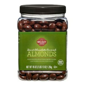 Wellsley Farms Dark Chocolate Covered Almonds Whole Roasted 45oz No Ship Califor