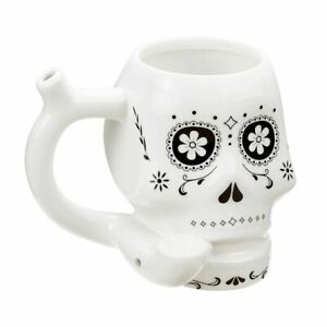 Premium Roast and Toast Day of the dead white skull  Coffee Tea Pipe Mug  cup