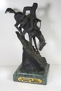 VINTAGE MOUNTAIN MAN BY FREDERIC REMINGTON BRONZE SCULPTURE MARBLE BASE