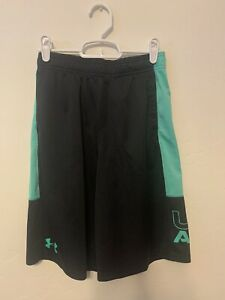 Boys Under Armour Shorts YLG L Large Black Turquoise Athletic Gym Workout $13.00