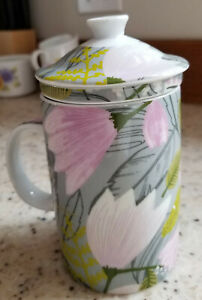 World Market Ceramic Tea Cup with Lid and Infuser Lotus Flowers NWT