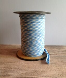 Handmade 3 8quot; Double Fold Bias Tape *light blue Gingham*. 1 YARD $2.25