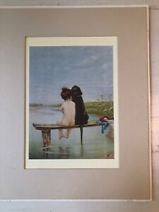 Piglhein Bruno Vintage Litho Lithograph Matted Print Bathing Beauties $8.99