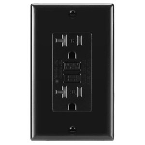 1 Pack, 20A Black GFCI Outlets, Slim TR Receptacle, with LED & Wall Plate, New