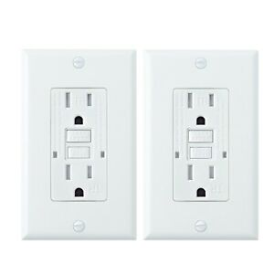 2 Pack, 15A White GFCI Outlets, Slim TR Receptacle, with LED & Wall Plate, New