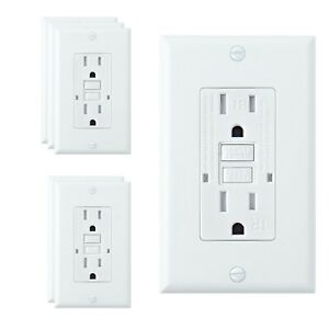 6 Pack, 15A White GFCI Outlets, Slim TR Receptacle, with LED & Wall Plate, New
