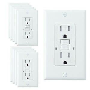 10 Pack, 15A White GFCI Outlets, Slim TR Receptacle, with LED & Wall Plate, New