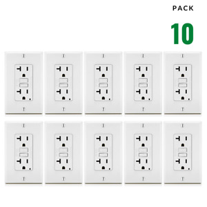 10 Pack, 20A White GFCI Outlets, Slim TR Duplex Receptacle LED & Wall Plate New