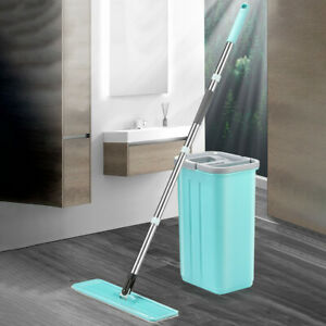 Flat Squeeze Mop And Bucket Hand Free Wringing Floor Cleaning Microfiber Mops U