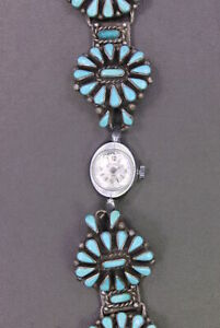 Vintage Artist Signed Zuni Sterling Silver Wristwatch w Turquoise Stone Inlay $249.99