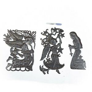 Handcrafted Haitian Metal Sculptures of Angels and Woman with Rosary Fair Trade $69.00