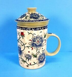 Chinese Porcelain Tea Cup/Mug with Infuser and Lid  Blue and Red Flowers