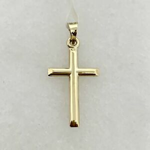 10K Yellow Gold 1 Small Polished Cross Pendant Charm .40g 10kt