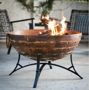 Wood Burning Cast Iron Fire Pit Outdoor Backyard Patio Iron Round Bowl