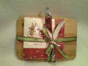 Nice WOOD CUTTING CHEESE BOARD & NAPKIN GIFT SET W Spreader Holiday Cheers NEW