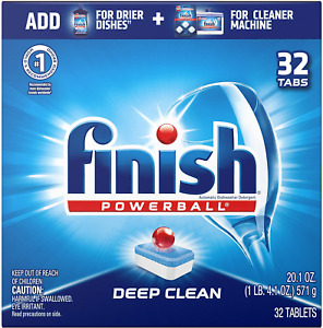 Finish Powerball Deep Clean Dishwasher Detergent Tablets Fresh Scent 32 ct
