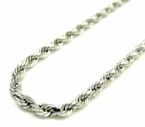 Solid 925 Sterling Silver Italian Rope Chain Mens Necklace 4mm Diamond Cut $47.97