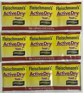 3 Strips 9 Packets FLEISCHMANN'S ACTIVE DRY Yeast Original. Exp:05 2022