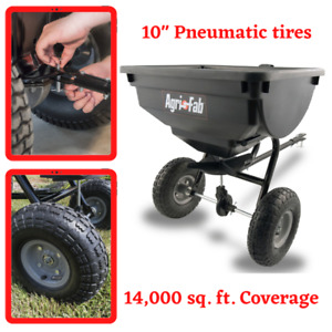85 Lb Tow Behind Broadcast Spreader Hopper Fertilizer Seed Pull ATV Lawn Tractor