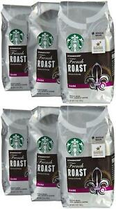 Starbucks French Roast Whole Bean Coffee(Extra Bold) 12 oz Bags 6 Pack BBD 8/20