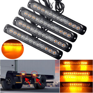 2X 12 LED Amber Car Truck Emergency Beacon Warning Hazard Flash Strobe Light Bar