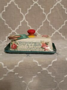 Pioneer Woman Teal Vintage Floral 2 pc Butter Dish Stoneware #116254.01 (B) New