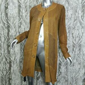 NWT~$1800~DROME~SZ S~GENUINE LEATHER GOLDEN BROWN MESH COAT JACKET DUSTER TRENCH