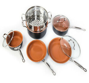 10 Piece Non-Stick Copper Pots and Pans Set with Scratch-Proof Surface