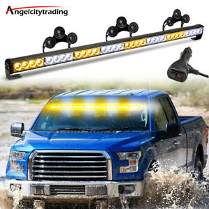 35 32 LED Amber&White Traffic Advisor Emergency Hazard Warning Strobe Light Bar