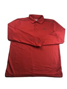 Under Armour All Season Gear Long Sleeve Polo Size L Mens Red $12.99