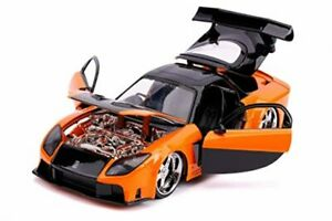 Fast & Furious Movie Han's Mazda RX 7 Orange and Black 1:24 Car scale By jada