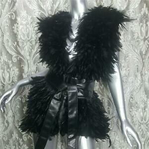 $695~RACHEL ZOE~ONE SIZE~AMAZING GENUINE BLACK DYED FEATHER VEST JACKET COAT