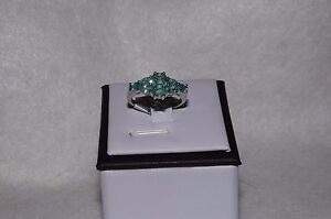 Emerald Sterling Silver Ring Size 8 $69.99