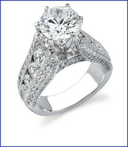 Gorgeous Large 2.25ct Diamond Platinum 950 Designer Engagement Semi Mount