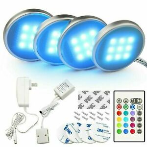 4X LED Kitchen Under Cabinet Lighting Kit Closet Counter Puck Light With Remote