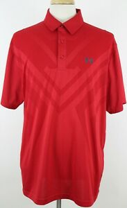 New Under Armour Men's Polo Shirt Loose heatgear 2XL XXL Red Color Vented $33.29