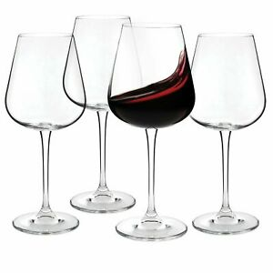 Set of 4 Crystal Red Wine Glasses (15.2 oz.) Lead-Free Glass